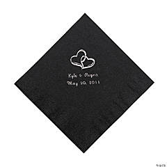 Black Two Hearts Personalized Napkins with Silver Foil - Luncheon