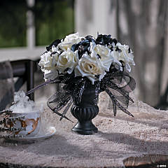 Black Vase with Roses & Spiders Halloween Decoration