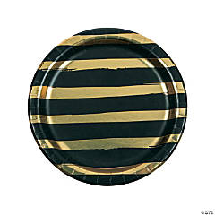 Black Velvet & Gold Foil Striped Paper Dinner Plates - 8 Ct.