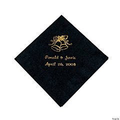 Black Wedding Bells Personalized Napkins with Gold Foil - Beverage