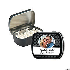 Black Wedding Design Custom Photo Mint Tins