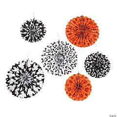 Black, White & Orange Hanging Tissue Fans Halloween Decorations