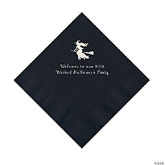 Black Witch Personalized Napkins with Silver Foil – Luncheon