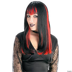 Black with Red Widow Wig