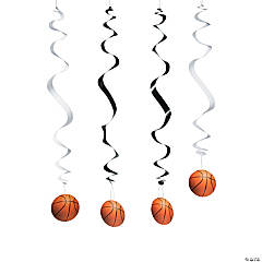 Black/White Basketball Hanging Swirl Decorations - 12 Pc.