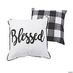 Blessed Black & White Plaid Pillow Set