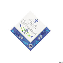 Blue 1st Communion Beverage Napkins