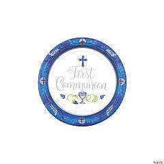 Blue 1st Communion Dessert Plates - 18 Ct.
