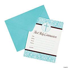 Blue 1st Communion Invitations