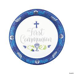 Blue 1st Communion Paper Dinner Plates - 18 Ct.