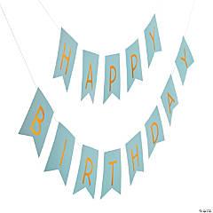 Blue & Gold Happy Birthday Garland