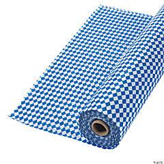 Blue & White Argyle Plastic Tablecloth Roll