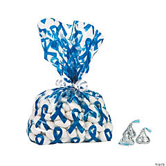Blue Awareness Ribbon Cellophane Bags