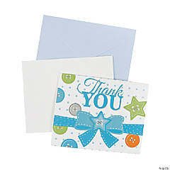 Blue Button Thank You Cards