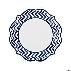 Blue Chevron Scalloped Paper Dinner Plates