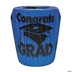 Blue Congrats Grad Graduation Plastic Trash Can Cover