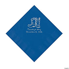 Blue Cowboy Boots Personalized Napkins with Silver Foil - Luncheon