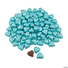 Blue Foil-Wrapped Milk Chocolate Hearts