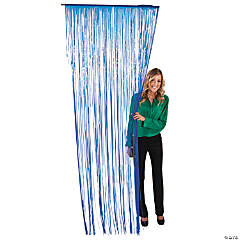 Blue Fringe Door Curtain