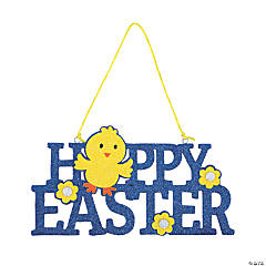 Blue Glitter Happy Easter Door Sign