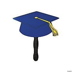 Blue Graduation Cap Cardstock Hand Fans
