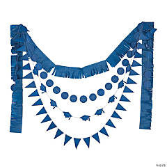Blue Graduation Multi-Strand Tissue Garlands