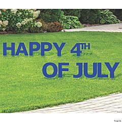 Blue Happy 4th of July Yard Sign