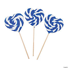 Blue Heart-Shaped Swirl Lollipops