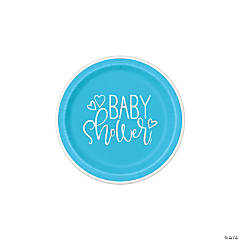 Blue Hearts Baby Shower Dessert Plates