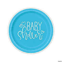 Blue Hearts Baby Shower Dinner Plates
