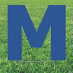 Blue Letter M Yard Sign