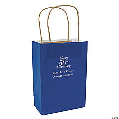 Blue Medium 50th Anniversary Personalized Kraft Paper Gift Bags with Silver Foil