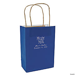 Blue Medium Mr. & Mrs. Personalized Kraft Paper Gift Bags with Silver Foil