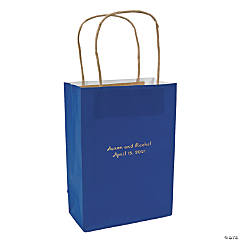 Blue Medium Personalized Kraft Paper Gift Bags with Gold Foil