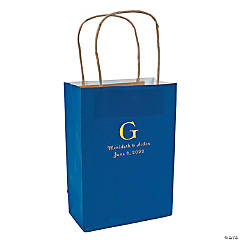 Blue Medium Personalized Monogram Welcome Gift Bags with Gold Foil