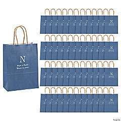 Blue Medium Personalized Monogram Welcome Gift Bags with Silver Foil