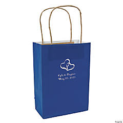 Blue Medium Two Hearts Personalized Kraft Paper Gift Bags with Silver Foil