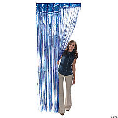 Blue Metallic Fringe Door Curtain