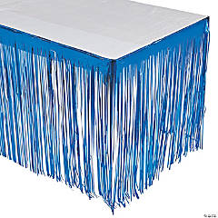 Blue Metallic Fringe Plastic Table Skirt