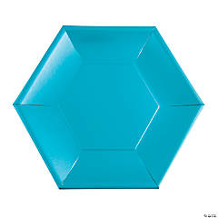 Blue Metallic Hexagonal Dinner Plates