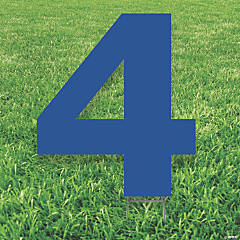 Blue Number 4 Yard Sign