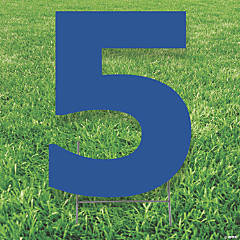 Blue Number 5 Yard Sign