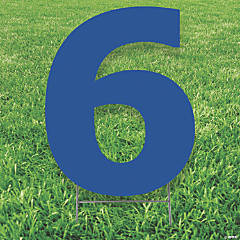 Blue Number 6 Yard Sign