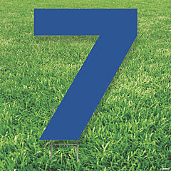 Blue Number 7 Yard Sign