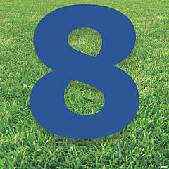 Blue Number 8 Yard Sign