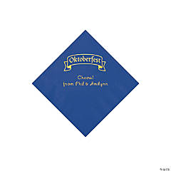 Blue Oktoberfest Personalized Napkins with Gold Foil - Beverage