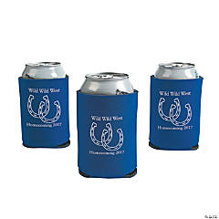 Blue Personalized Horseshoe Can Coolers
