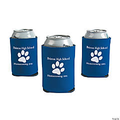 Blue Personalized Paw Print Can Coolers