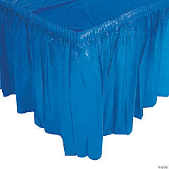 Blue Plastic Pleated Tableskirt