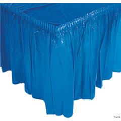 Blue Plastic Pleated Tableskirt